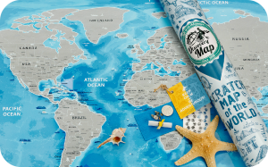 Подарок Скретч карта мира Discovery Map Silver English в тубусе
