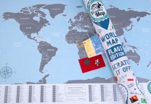Подарок Скретч карта Discovery Map Flags Edition English в тубусе