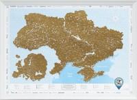 Подарок Скретч карта Украины Discovery Map Ukrainian в рамке (белая)