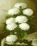 Картина по номерам 'Белые цветы в стеклянной вазе'