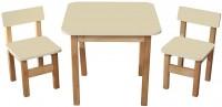 Детский эко набор стол и два стульчика Финекс плюс, ваниль (093)