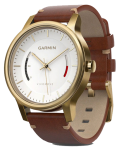 Часы Garmin Vívomove Premium, Gold-Tone Steel with Leather Band (010-01597-21)