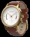 Часы Garmin Vívomove Premium, Gold-Tone Steel with Leather Band (010-01597-21)