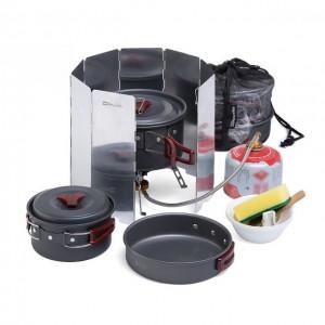 Набор посуды NatureHike 3-4 NH + горелка+ветрозащита, carbon (NH15T203-Z)