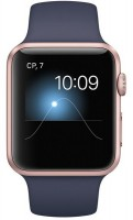 Смарт-часы Apple Watch Series 1 42mm Rose Gold Aluminum Case with Midnight Blue Sport Band (MNNM2)
