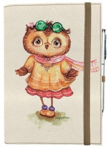 Подарок Блокнот Rainbow А5 'Совушка модница' (эко-кожа) (бежевые листы)