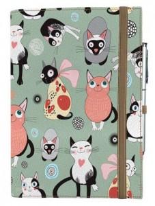 Подарок Блокнот Rainbow А5 'Весёлые котики фон' (эко-кожа) (бежевые листы)