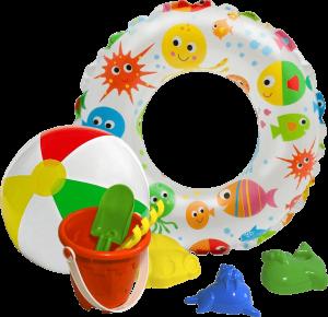 Подарок Детский комплект 'Пляжный' 3 в 1: надувной круг, набор для песочницы, надувной мяч