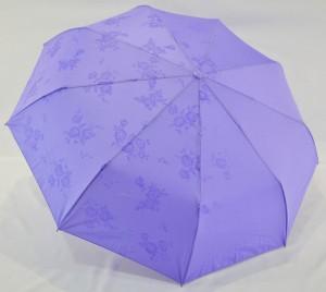 Зонт полуавтомат в 3 сложения с проявкой (антиветер) (светло-сиреневый)