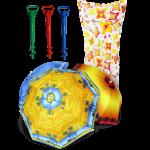 Комплект: Зонт пляжный с наклоном 2 м + Винт крепежный + Матрас надувной Intex 'Звезды'