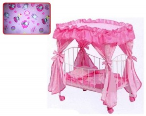 Кроватка для кукол железная с балдахином (9350/015)