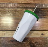 Подарок Стакан Starbucks с крышкой и трубочкой, 500 мл, белый