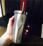 Подарок Стакан Starbucks с крышкой и трубочкой, 500 мл, серебро