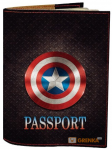 Подарок Обложка на паспорт 'Капитан Америка' (Эко-Кожа)