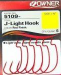 Оффсетный крючок Owner J-Light Hook, красный, 6шт. (5109-2/0)