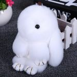 Подарок Меховой брелок на сумку в виде зайчика (белый)