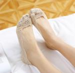 Подарок Кружевные тапочки носочки (Бежевые)