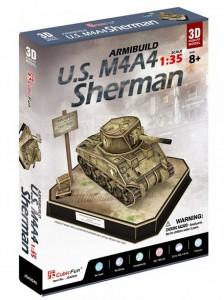 Трехмерная головоломка-конструктор CubicFun 'U.S. M4A4 Sherman' (JS4204h)