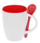 Подарок Чашка с ложкой (бело-красная)