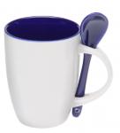 Подарок Чашка с ложкой (бело-синяя)