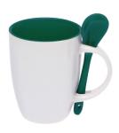 Подарок Чашка с ложкой (бело-зеленая)