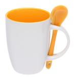 Подарок Чашка с ложкой (бело-оранжевая)
