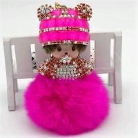 Подарок Кукла брелок Monchichi (малиновый)