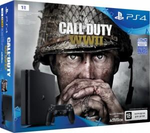 Приставка Sony PlayStation 4 Slim 1Tb Black (игра 'Call of Duty: World War 2' в подарок) (официальная гарантия)