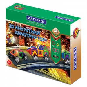 3D магнитный конструктор Магникон 34 детали (МК-34)