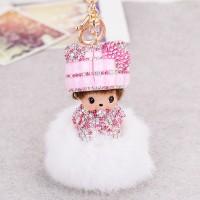Подарок Кукла брелок Monchichi (белый)