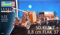 Модель для сборки Revell 'Немецкий тягач Sd.Kfz.7 и зенит. орудие 88 мм Flak 37, 1:72' (03210)