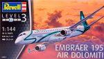 Модель для сборки Revell 'Пассажирский самолет Embraer 195 AIR DOLOMITI, 1:144' (04884)