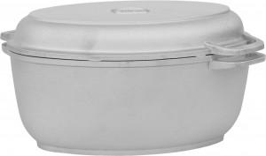 Гусятница алюминиевая Биол с крышкой-сковородой, 3 л (Г301)