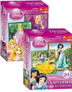 Картинки из блесток. Принцессы Аврора и Рапунцель + Жасмин и Белоснежка