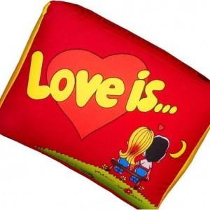 Подушка 'Love is...' Красная