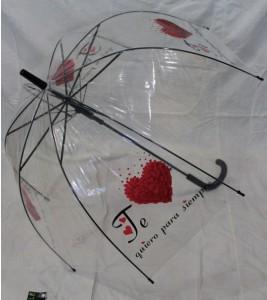 Подарок Зонт - трость 'Amor' грибком прозрачный