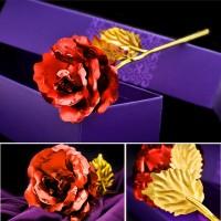 Подарок Красная роза Golden Rose 24k в подарочной упаковке