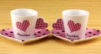 Подарок Чашки с блюдцем 'Сердечко' (розовые)