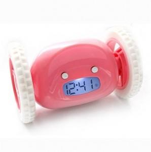 Подарок Убегающий будильник на колесиках розовый (top-282)