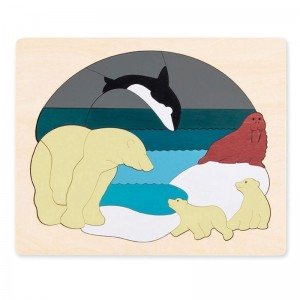 Двусторонний пазл Hape George Luck 'Животные Арктики' (E6522)