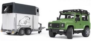 Джип с прицепом и лошадкой Bruder 'Land Rover Defender' М1:16 (02592)