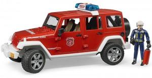 Пожарный джип Bruder 'Wrangler Unlimited Rubicon' М1:16 + фигурка пожарника (02592)