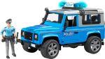 Полицейский джип Bruder 'Land Rover Defender' М1:16 + фигурка полицейского (02597)