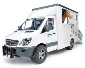 Транспортер для животных Bruder 'Mercedes Benz Sprinter' М1:16 + фигурка лошади (02533)