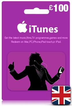 Купить Скан карты iTunes £100 GBP UK (Великобритания)