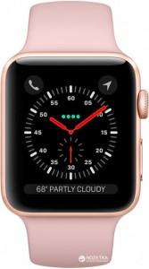 Смарт-часы Apple Watch Series 3 GPS + Cellular 38mm Gold Aluminum Case with Pink Sand Sport Band (MQJQ2)