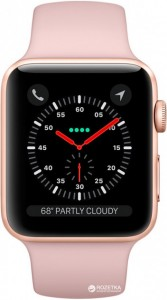 Смарт-часы Apple Watch Series 3 GPS + Cellular 42mm Gold Aluminum w. Pink Sand Sport B. (MQK32)
