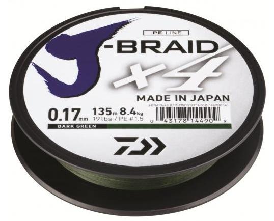 Купить Шнур Daiwa J-Braid X4E 0, 17mm 135m Yellow (12740-017)