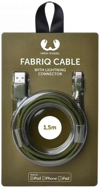 Купить Кабель Fresh 'N Rebel Fabriq Lightning Cable 1, 5m Army (2LCF150AR), Fresh N Rebel