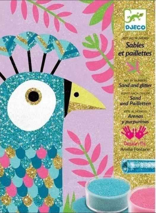 Купить Наборы для рисования, Набор для рисования цветным песком Djeco 'Ослепительные птицы' (DJ08663)